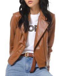 MICHAEL Michael Kors Michael Plus Size Leather Moto Jacket - Multicolour