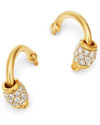 Adina Reyter 14k Yellow Gold & Sterling Silver Pavé Diamond Barrel Huggie Hoop Earrings - Metallic