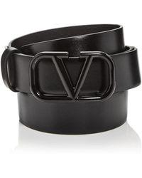 Valentino Garavani Valentino Garavani Logo Buckle Leather Belt - Black