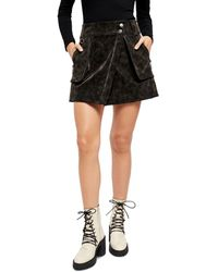 Free People Carson Faux Leather Utility Skirt - Black