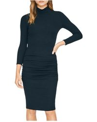 Sanctuary Ruched Turtleneck Dress - Black