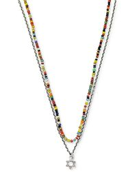 Jan Leslie Sterling Silver Star Of David Charm And African Stone Beaded Necklace - Metallic