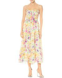 ML Monique Lhuillier Floral Chiffon Midi Dress - Multicolour
