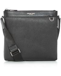 Michael Kors Greyson Pebbled Leather Messenger Bag - Black