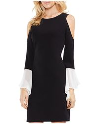 Vince Camuto - Mixed Media Cold Shoulder Dress - Lyst
