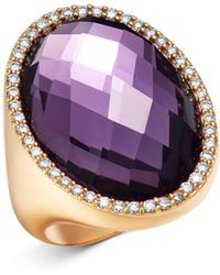 Roberto Coin - 18k Rose Gold Amethyst Doublet Cocktail Ring With Diamonds - Lyst