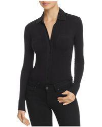 Donna Karan Long Sleeve Button-down Bodysuit - Black