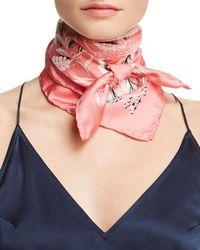 Ferragamo Tapestry Floral Gancini Silk Scarf - Pink