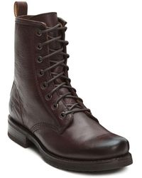 Frye Veronica Lace Up Combat Boots - Brown