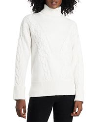 Vince Camuto Cable Stitch Turtleneck Sweater - White