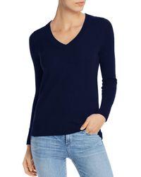 Aqua Cashmere V - Neck Cashmere Sweater - Blue