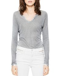 Zadig & Voltaire - Foil-trimmed Henley Top - Lyst