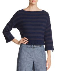 Kenneth Cole - Cropped Zip-sleeve Striped Jumper - Lyst