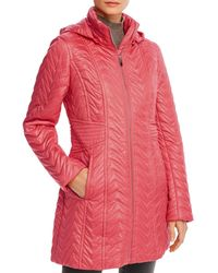 Via Spiga Detachable - Hood Zig - Zag Quilted Coat - Red
