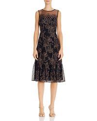 Adrianna Papell Maria Floral Lace Illusion Yoke Flounce Hem Midi Dress - Black