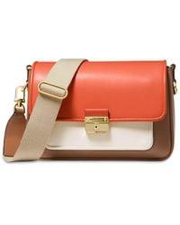 MICHAEL Michael Kors Bradshaw Medium Leather Messenger Bag - Orange