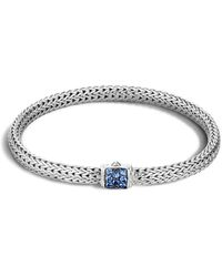 John Hardy - Classic Chain Sterling Silver Lava Extra Small Bracelet With Blue Sapphires - Lyst