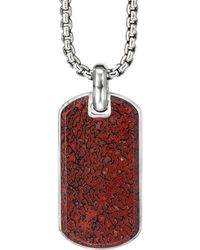 David Yurman Exotic Stone Streamline Tag - Red