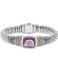 Lagos 18k Gold And Sterling Silver Caviar Colour Bracelet With Rose De France Amethyst - Metallic