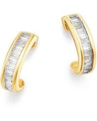 Adina Reyter - 14k Yellow Gold Diamond Small J Hoop Earrings - Lyst