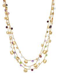 Marco Bicego - 18k Yellow Gold Paradise Teardrop Three Strand Gemstone Necklace - Lyst