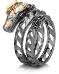 John Hardy Sterling Silver & 18k Yellow Gold Legends Naga Black Spinel & Blue Sapphire Dragon Ring - Metallic