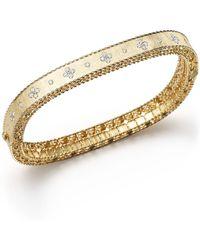 Roberto Coin 18k Yellow Gold And Diamond Princess Bangle - Metallic