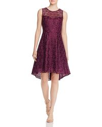 Adrianna Papell Embroidered Fit - And - Flare Dress - Purple