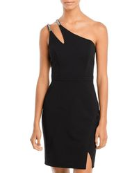 Aqua One Shoulder Cocktail Dress - Black