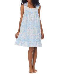 Eileen West Floral Print Swiss Dot Lawn Short Nightgown - Blue