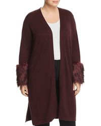 Vince Camuto Signature - Faux-fur Cuff Duster Cardigan - Lyst