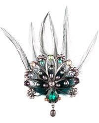 Carolee Peacock-inspired Multi-stone & Feather Brooch - Metallic