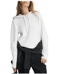 Rag & Bone Pierce Cashmere Hoodie Relaxed Fit Sweater - White