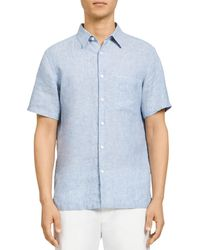 Theory Irving Linen Button Down Shirt - Blue