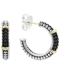 Lagos - Black Caviar Ceramic 18k Gold And Sterling Silver 2 Station Hoop Earrings - Lyst