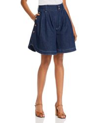 See By Chloé See By Chloe Curved Hem Wide Leg Denim Shorts - Blue