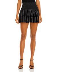 Aqua Faux Leather Smocked Mini Skirt - Black