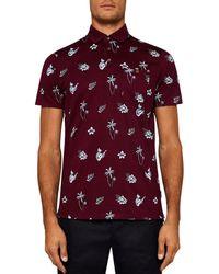 Ted Baker - Midge Tropical Print Polo Shirt - Lyst
