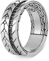 John Hardy Sterling Silver Modern Men's Black Sapphire & Black Spinel Ring