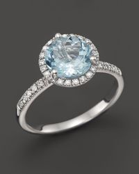 Bloomingdale's - Aquamarine And Diamond Halo Ring In 14k White Gold - Lyst