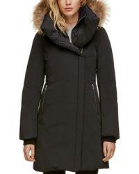 SOIA & KYO - Fur Trim Asymmetric Front Down Coat - Lyst