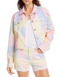 Aqua Tie - Dyed Denim Trucker Jacket In Pastel Multi - Multicolor