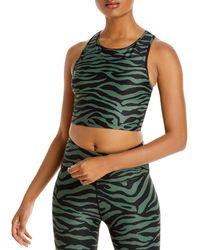 Aqua Athletic Zebra Print Knit Sports Bra - Green