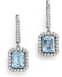 Bloomingdale's - Aquamarine And Diamond Drop Earrings In 14k White Gold - Lyst
