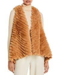 Jocelyn Striped Faux Fur Asymmetric Vest - Multicolour