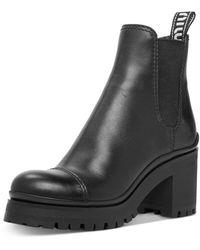 Miu Miu Leather Platform Booties - Black