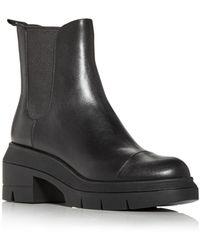 Stuart Weitzman Norah Block Heel Platform Chelsea Boots - Black