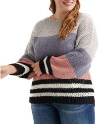 Lucky Brand Bold Stripe Pullover Sweater - Multicolour