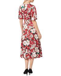 Hobbs Bella Floral Midi Dress - Red