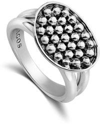 Lagos Sterling Silver Bold Caviar Horizontal Ellipse Ring - Metallic